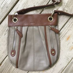 Gray and brown leather crossbody purse—Perlina